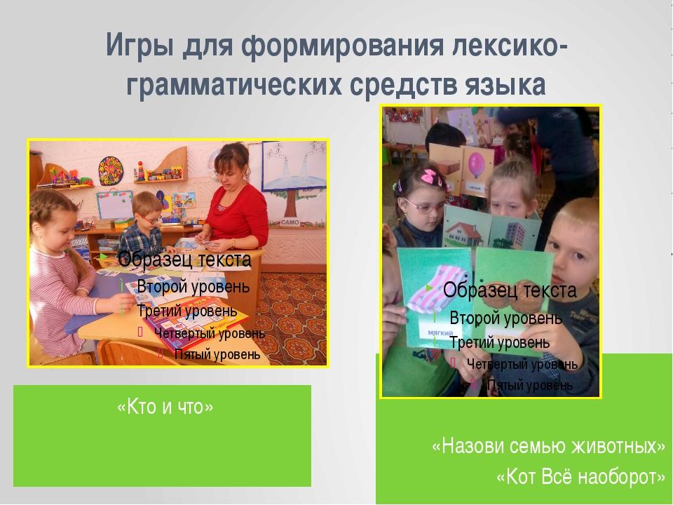 Игры для формирования лексико-грамматических средств языка «Кто и что» «Назов...