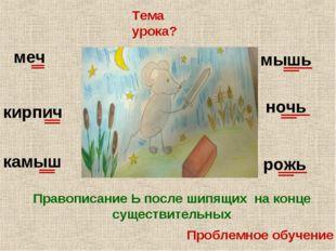 Проблемное обучение Тема урока? Правописание Ь после шипящих на конце существ