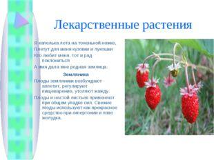 Лекарственные растения Я капелька лета на тоненькой ножке, Плетут для меня ку