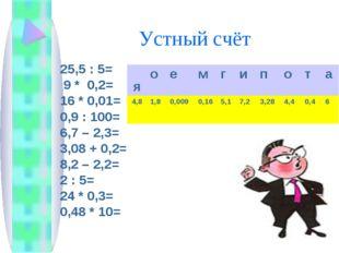 Устный счёт 25,5 : 5= 9 * 0,2= 16 * 0,01= 0,9 : 100= 6,7 – 2,3= 3,08 + 0,2=