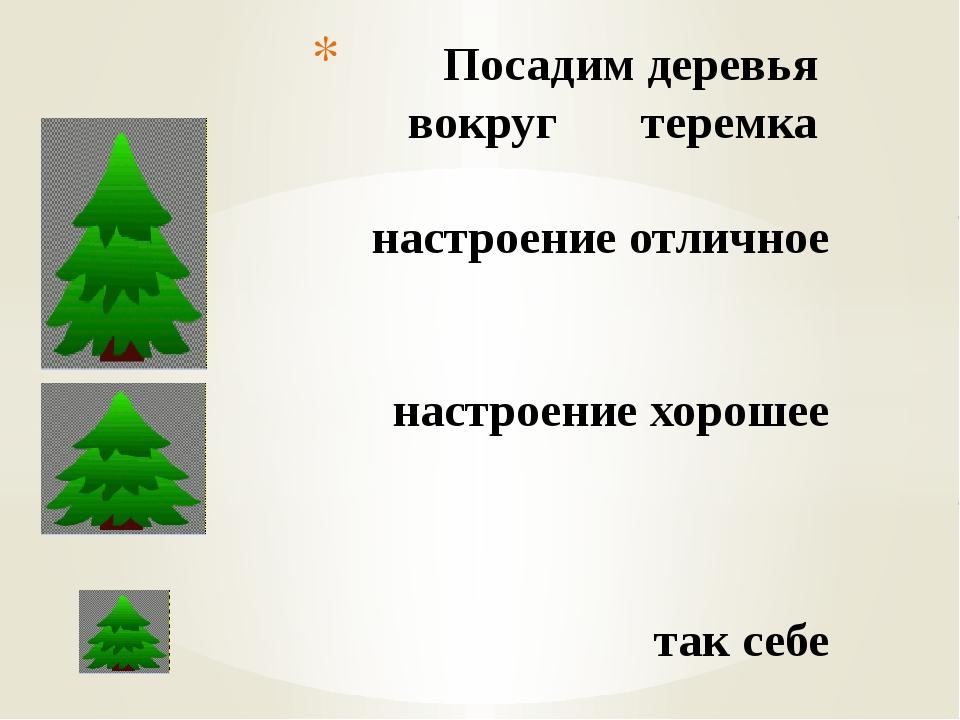 Посадим деревья вокруг теремка настроение отличное настроение хорошее так себе