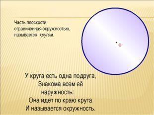 О Часть плоскости, ограниченная окружностью, называется кругом. У круга есть