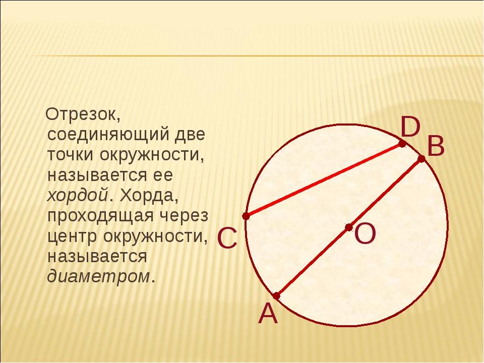 Отрезок, соединяющий две точки окружности, называется ее хордой. Хорда, прох...