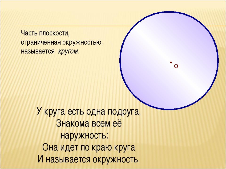 О Часть плоскости, ограниченная окружностью, называется кругом. У круга есть...