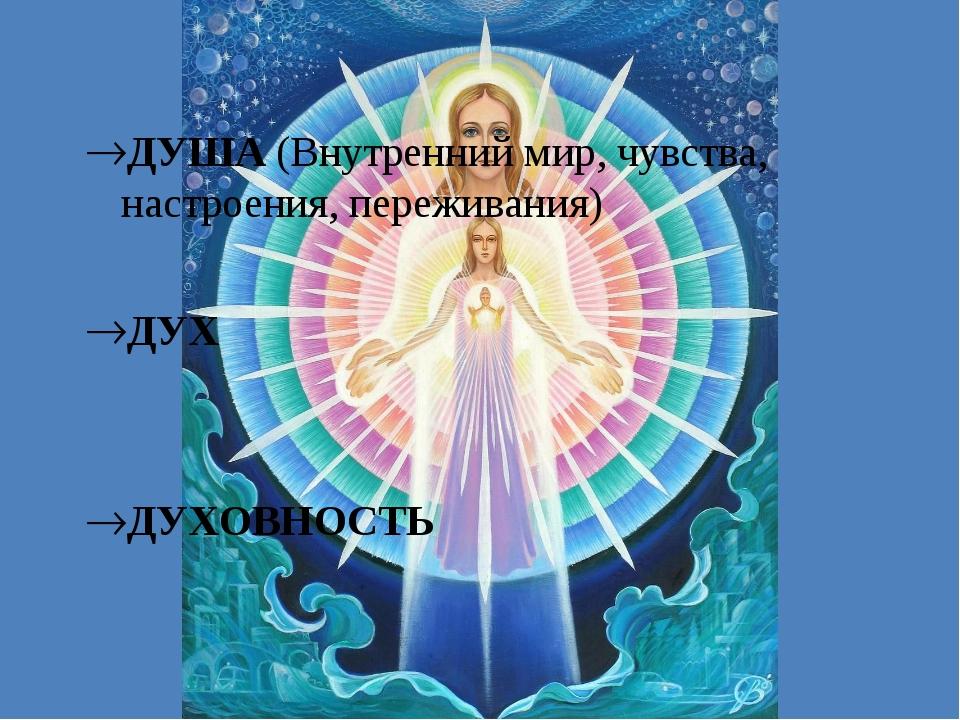ДУША (Внутренний мир, чувства, настроения, переживания) ДУХ ДУХОВНОСТЬ