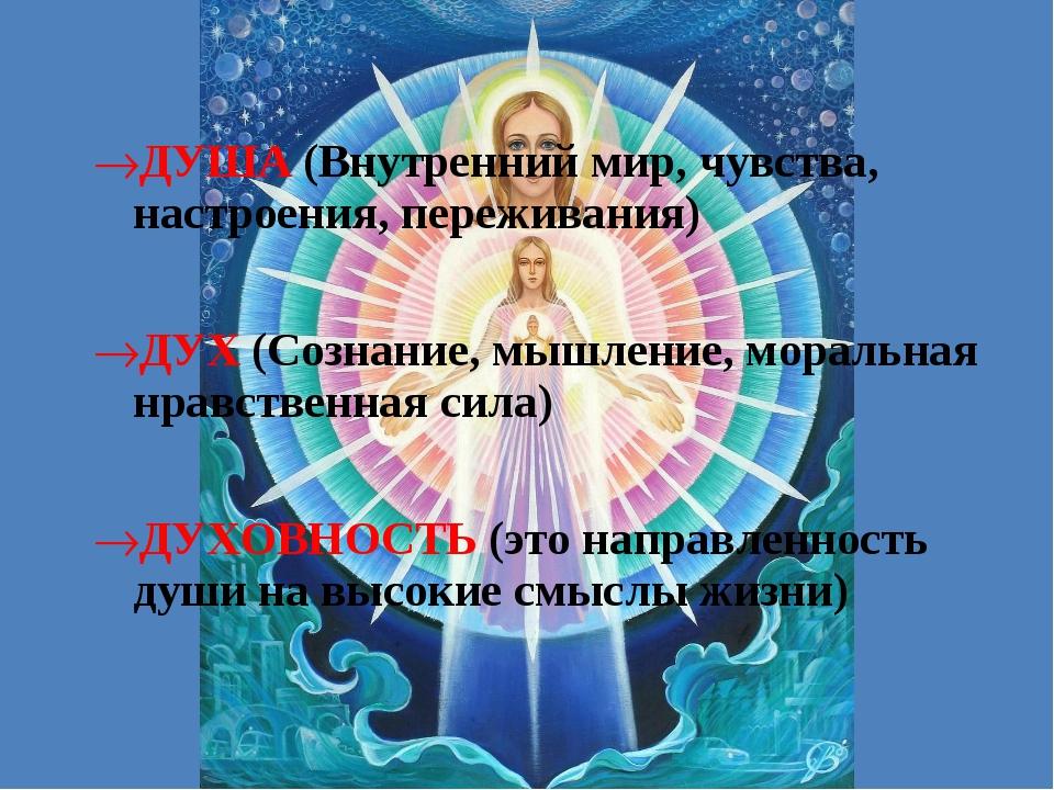 ДУША (Внутренний мир, чувства, настроения, переживания) ДУХ (Сознание, мышлен...