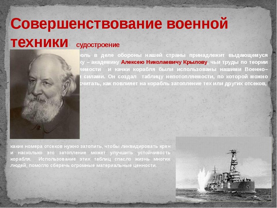 Совершенствование военной техники судостроение Видная роль в деле обороны наш...