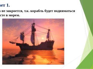 Ответ 1. Она не закроется, т.к. корабль будет подниматься вместе в морем.