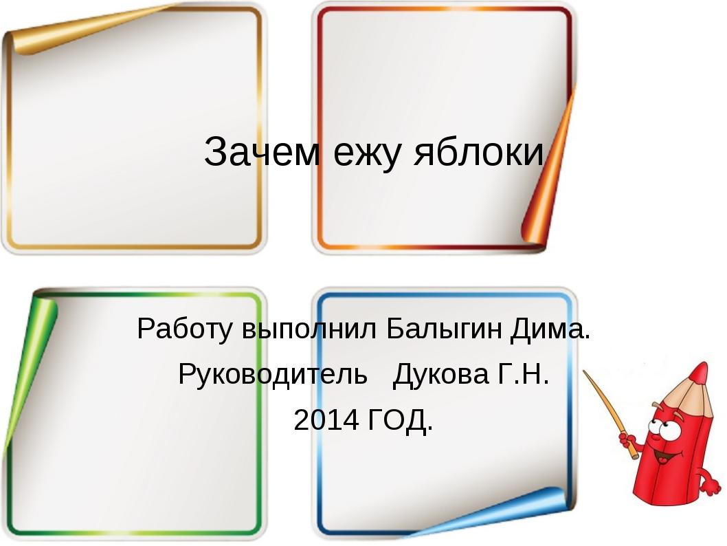 Зачем ежу яблоки Работу выполнил Балыгин Дима. Руководитель Дукова Г.Н. 2014...