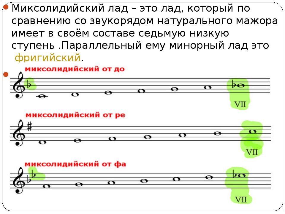 Миксолидийский лад – это лад, который по сравнению со звукорядом натурального...