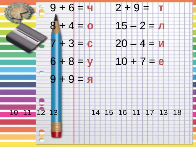 9 + 6 =ч 2 + 9 =т 8 + 4 =о 15 – 2 =л 7 + 3 =с 20 – 4 =и 6 + 8 =у 10 + 7 =е 9...