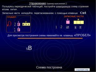 Упражнение (пример выполнения ): Пользуясь периодической таблицей, постройте