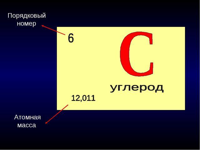 Порядковый номер Атомная масса