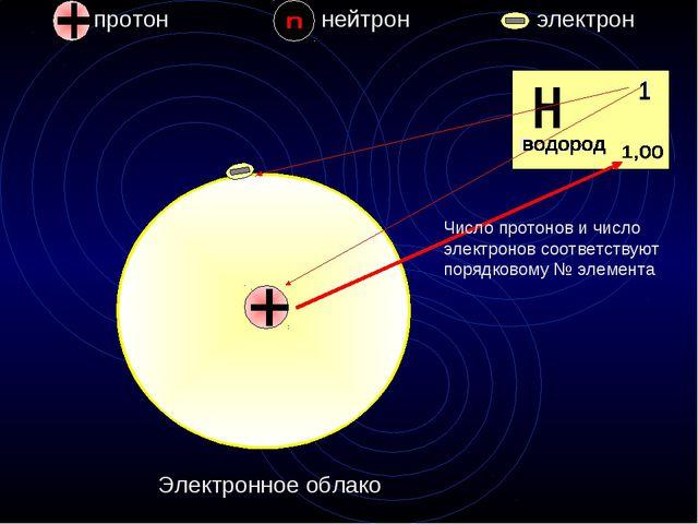 протон нейтрон электрон 1 Водород Электронное облако Число протонов и число э...