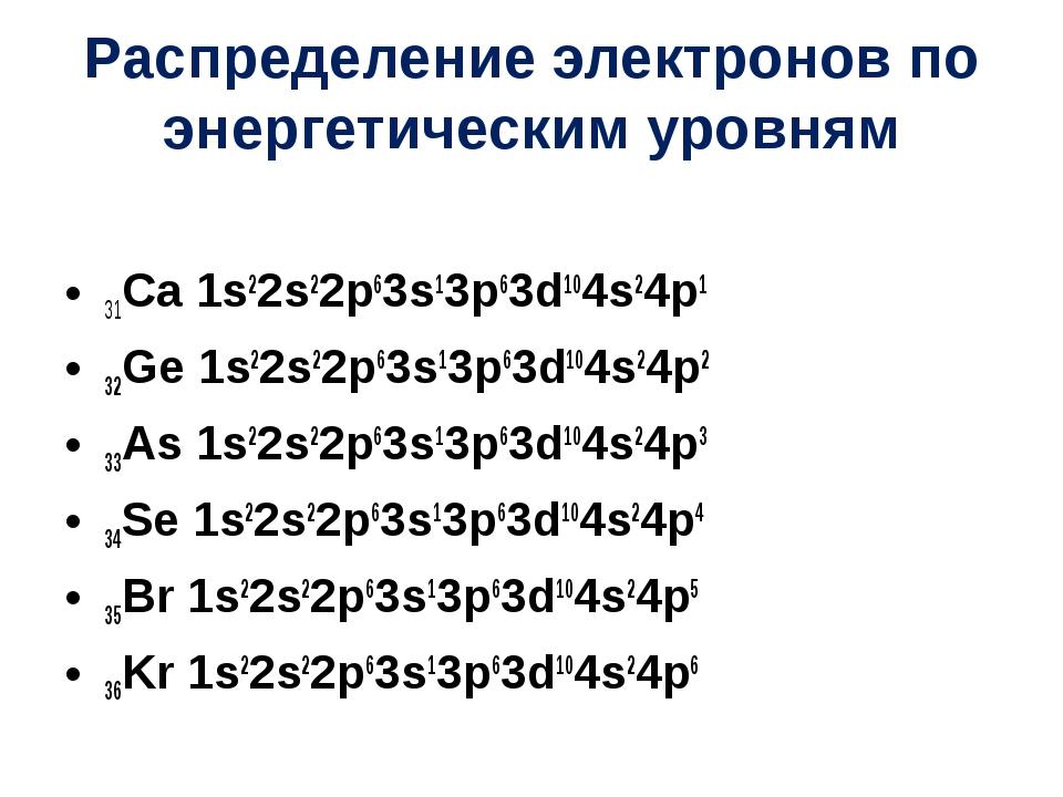 Распределение электронов по энергетическим уровням 31Ca 1s22s22p63s13p63d104s...
