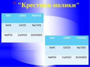 """""""Крестики-нолики"""" NaCl Li2SO4 Pb(NO3)2 NaHS CaCO3 Na2SiO3 Na3PO4 Cu(OH)Cl Zn"""
