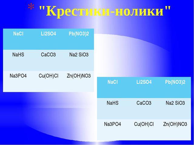 """""""Крестики-нолики"""" NaCl Li2SO4 Pb(NO3)2 NaHS CaCO3 Na2SiO3 Na3PO4 Cu(OH)Cl Zn..."""