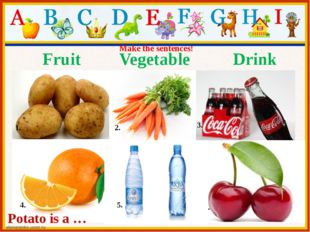 Fruit Vegetable Drink 1. 2. 3. 4. 6. 5. Make the sentences! Potato is a …
