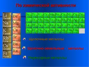 Щелочные металлы Переходные металлы Щелочно-земельные металлы По химической а