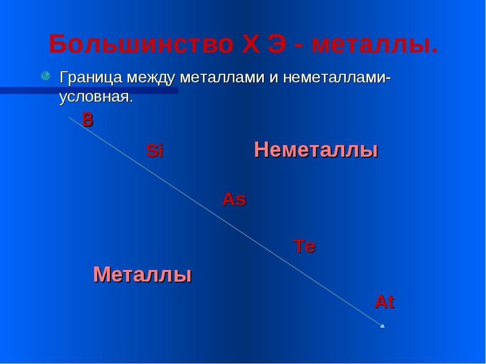 Большинство Х Э - металлы. Граница между металлами и неметаллами-условная. B...
