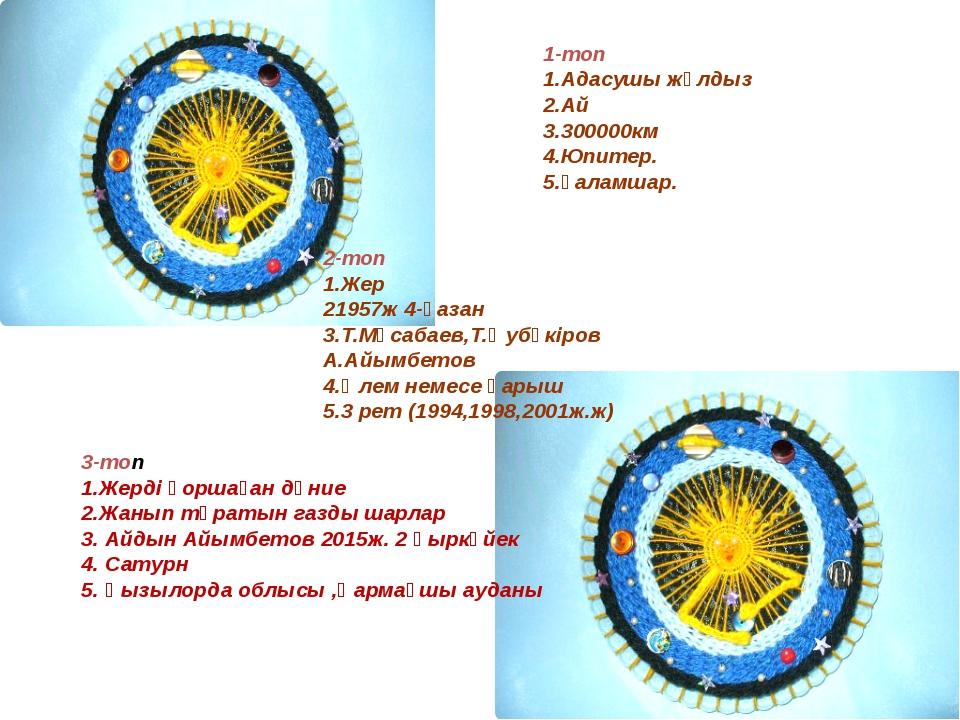 1-топ 1.Адасушы жұлдыз 2.Ай 3.300000км 4.Юпитер. 5.Ғаламшар. 2-топ 1.Жер 2195...