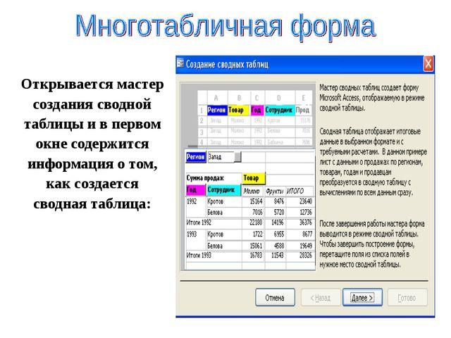 Открывается мастер создания сводной таблицы и в первом окне содержится информ...