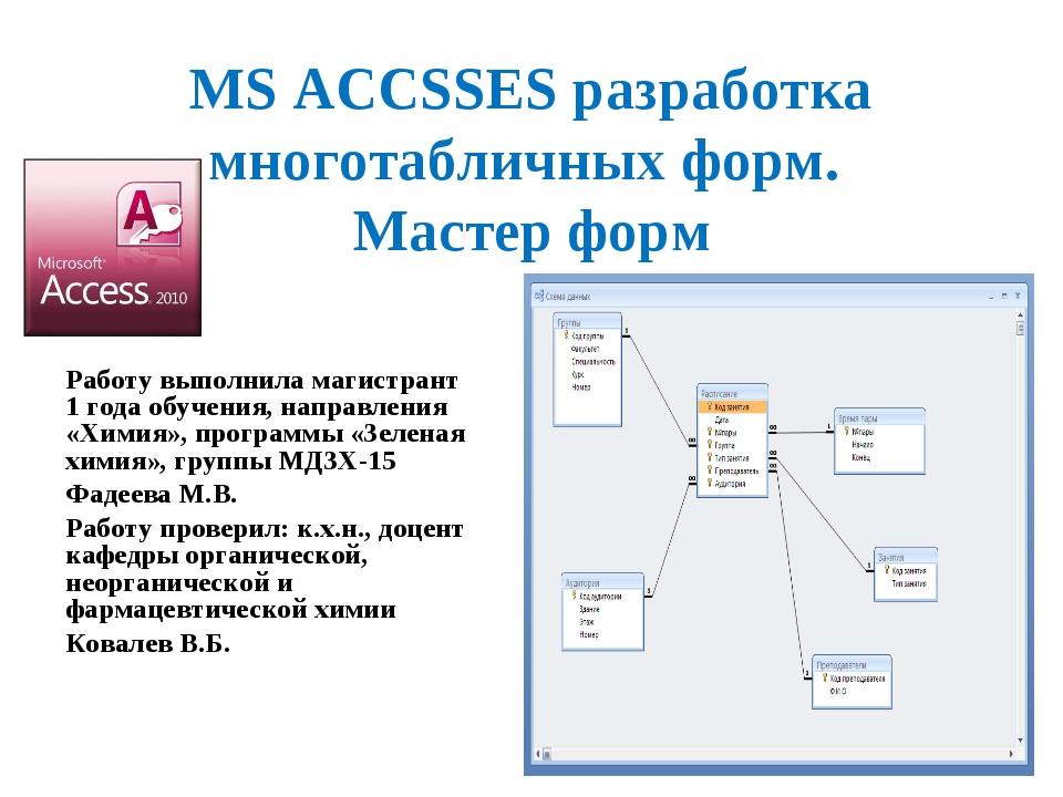 MS ACCSSES разработка многотабличных форм. Мастер форм Работу выполнила магис...