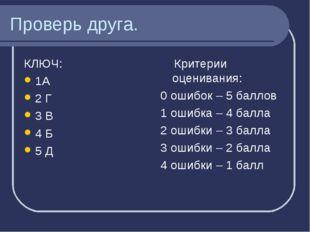 Проверь друга. КЛЮЧ: 1А 2 Г 3 В 4 Б 5 Д Критерии оценивания: 0 ошибок – 5 бал
