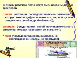 В ячейки рабочего листа могут быть введены данные трех типов: числа (некотора