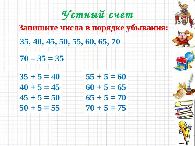 Устный счет Запишите числа в порядке убывания: 70, 55, 40, 50, 60, 45, 65, 35...