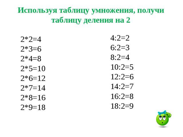 4:2=2 6:2=3 8:2=4 10:2=5 12:2=6 14:2=7 16:2=8 18:2=9 Используя таблицу умноже...