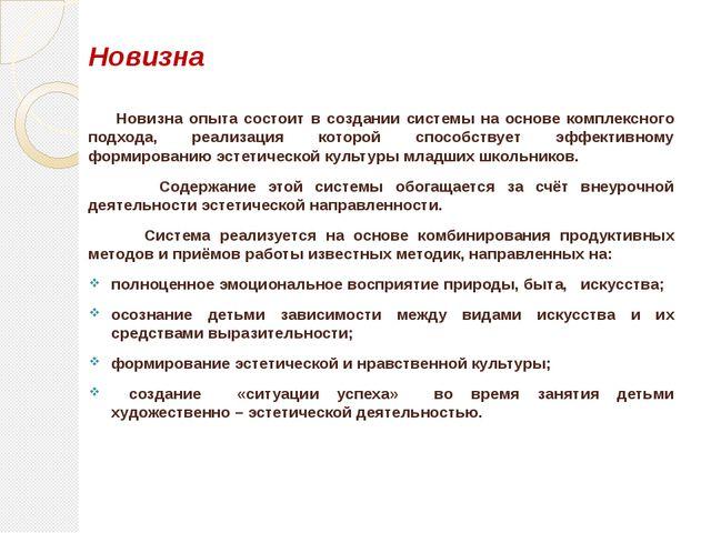 Новизна Новизна опыта состоит в создании системы на основе комплексного подхо...