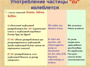 """Употребление частицы """"zu"""" колеблется 1.1 после глаголов: lernen, lehren, hel"""