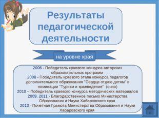 на уровне края Результаты педагогической деятельности 2006 - Победитель краев