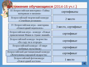 Достижения обучающихся (2014-15 уч.г.) IV Всероссийская игра - викторина «Нов