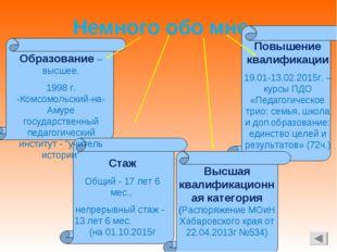 Немного обо мне Образование – высшее. 1998 г. -Комсомольский-на-Амуре государ
