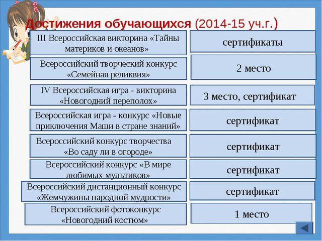 Достижения обучающихся (2014-15 уч.г.) IV Всероссийская игра - викторина «Нов...
