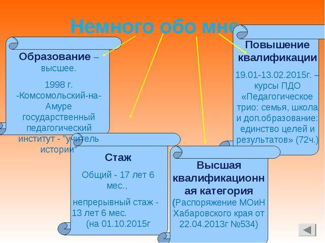 Немного обо мне Образование – высшее. 1998 г. -Комсомольский-на-Амуре государ...