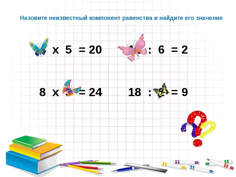 х 5 = 20 12 : 6 = 2 х 3 = 24 18 : 2 = 9 Назовите неизвестный компонент равенс...