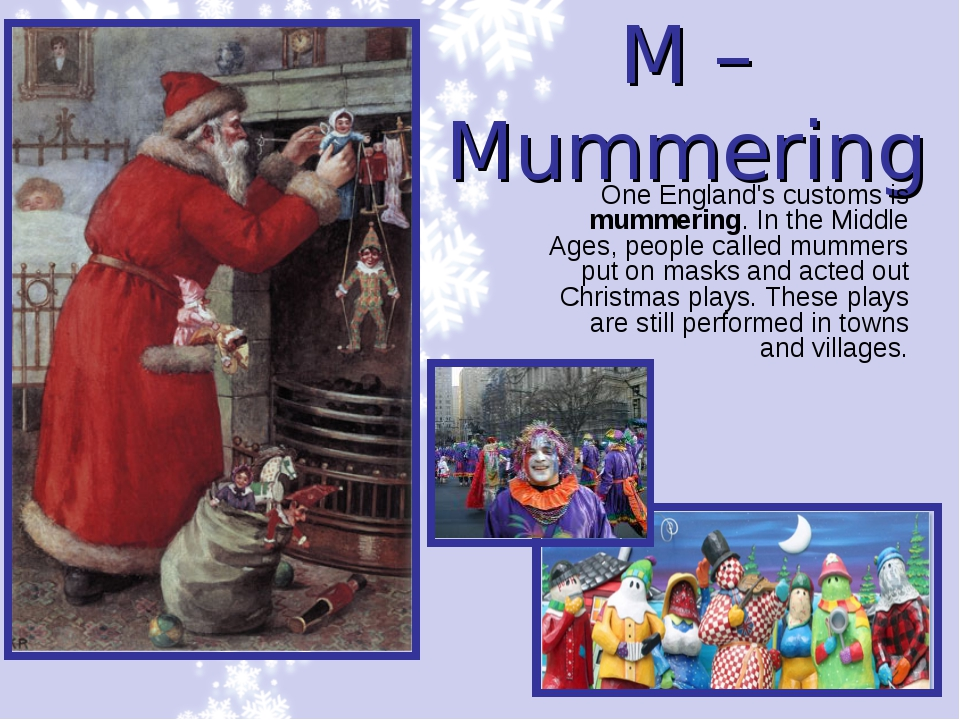 M – Mummering One England's customs is mummering. In the Middle Ages, people...