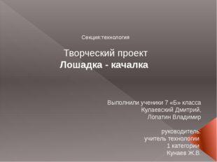 Секция:технология Творческий проект Лошадка - качалка Выполнили ученики 7 «Б