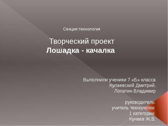 Секция:технология Творческий проект Лошадка - качалка Выполнили ученики 7 «Б...