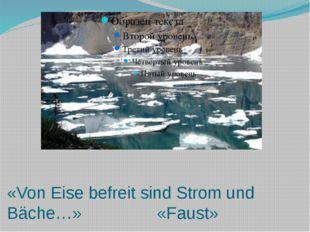 «Von Eise befreit sind Strom und Bäche…» «Faust»