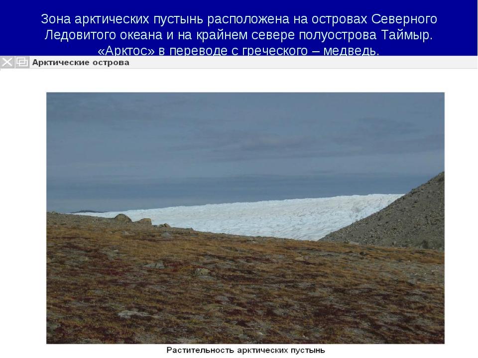 Зона арктических пустынь расположена на островах Северного Ледовитого океана...