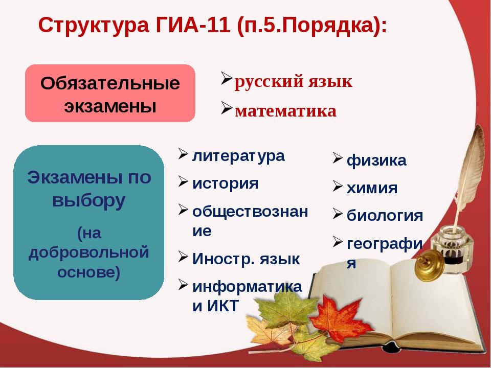 Структура ГИА-11 (п.5.Порядка): Обязательные экзамены русский язык математика...
