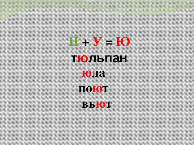 Й + У = Ю юла поют вьют тюльпан