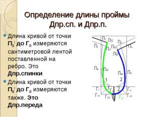 Определение длины проймы Дпр.сп. и Дпр.п. Длина кривой от точки П11/ до Г21 и