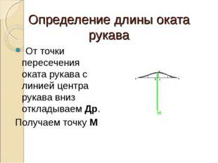 Определение длины оката рукава От точки пересечения оката рукава с линией цен