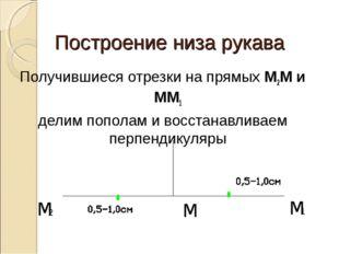 Построение низа рукава Получившиеся отрезки на прямых М2М и ММ1 делим пополам