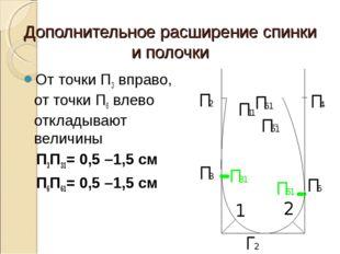 Дополнительное расширение спинки и полочки От точки П3 вправо, от точки П6 вл